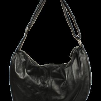 Černá kožená kabelka přes rameno Gondola Nera