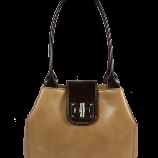 Kožená kabelka přes rameno Angela Taupe Cafe