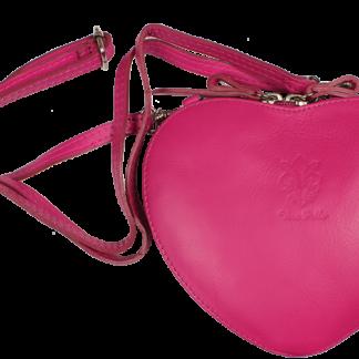 Růžová kožená kabelka Cuore Fuxia