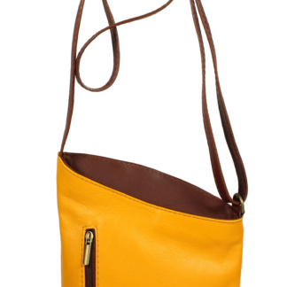 Žlutá kožená kabelka Angola Gialla Marrone