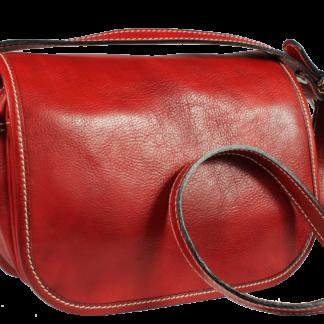 Červená Kožená Kabelka z Itálie Floriano Rosso