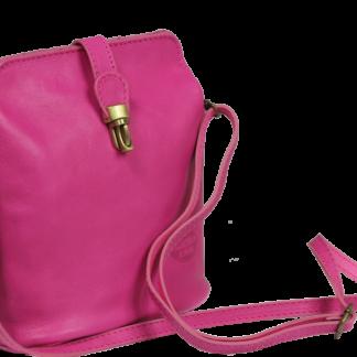 Malá růžová kožená kabelka Piazza Rosa