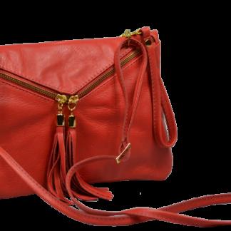 Červené kožené psaníčko Maida Rossa